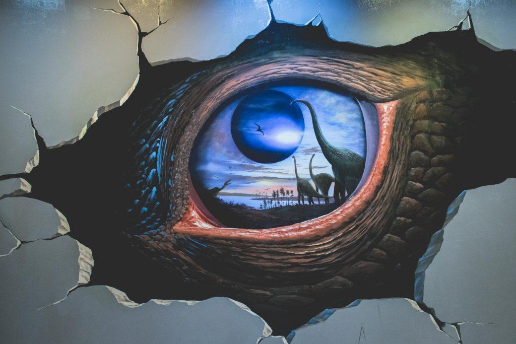 รูปภาพ 3 มิติที่เป็นดวงตาไดโนเสาร์